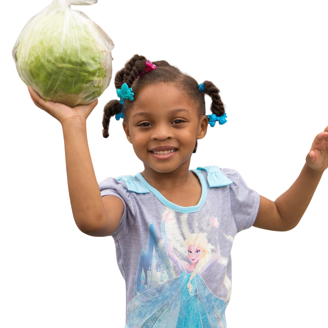 Girl holding cabbage